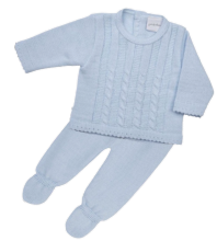 Baby Boys Blue Cable Knitted Top & Pants